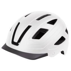M-WAVE URBAN med indbygget ledlys -  cykelhjelm mat hvid (BEST I TEST !)