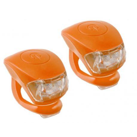 Cykelhjelm Orange M-wave LED cykellygtesæt