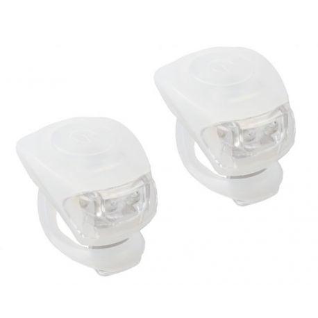 Cykelhjelm Hvid M-wave LED cykellygtesæt