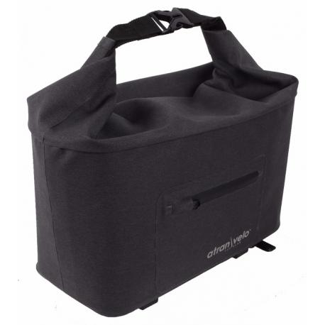Cykelhjelm Atran Velo Travel top bagagetaske til AVS bagagebærer, grå/sort, vol. 10.5 L