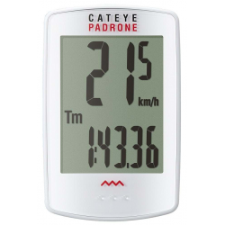 Cateye padrone PA100W trådløs cykelcomputer m. stort display, hvid