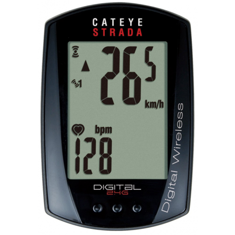 Cykelhjelm Cateye Strada Double wireless digital puls + trådløs cykelcomputer