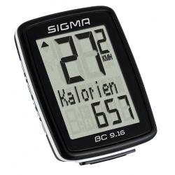 Sigma BC 9.16 cykelcomputer m. kabel, sort