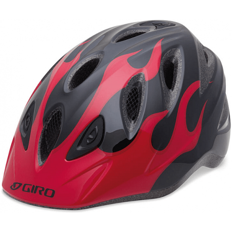 Cykelhjelm Giro Rascal børnehjelm, Sort/rød flamme