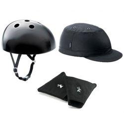 Sort Yakkay cykelhjelm + Paris Oilskin Cover + ørevarmere