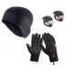 Safebike hjelmhue + vind- og vandtætte handsker + lygtesæt