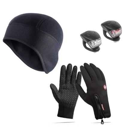Cykelhjelm Safebike hjelmhue + vind- og vandtætte handsker + lygtesæt