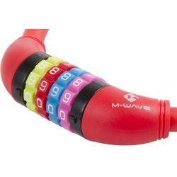 M-Wave DS 12.6,5 cykellås med kode, rød