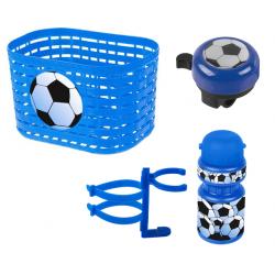 Cykelkurv + ringeklokke + flaske m. holder med fodbold motiv