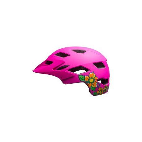 Cykelhjelm Bell Sidetrack Cykelhjelm Junior, Mat Pink / Lime m. blomster