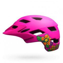 Bell Sidetrack Cykelhjelm Junior, Mat Pink / Lime m. blomster