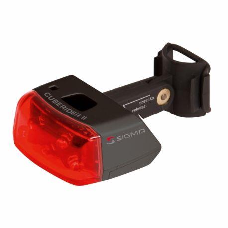 Baglygte Cuberider II sort fast lys el. blink | cykellygte